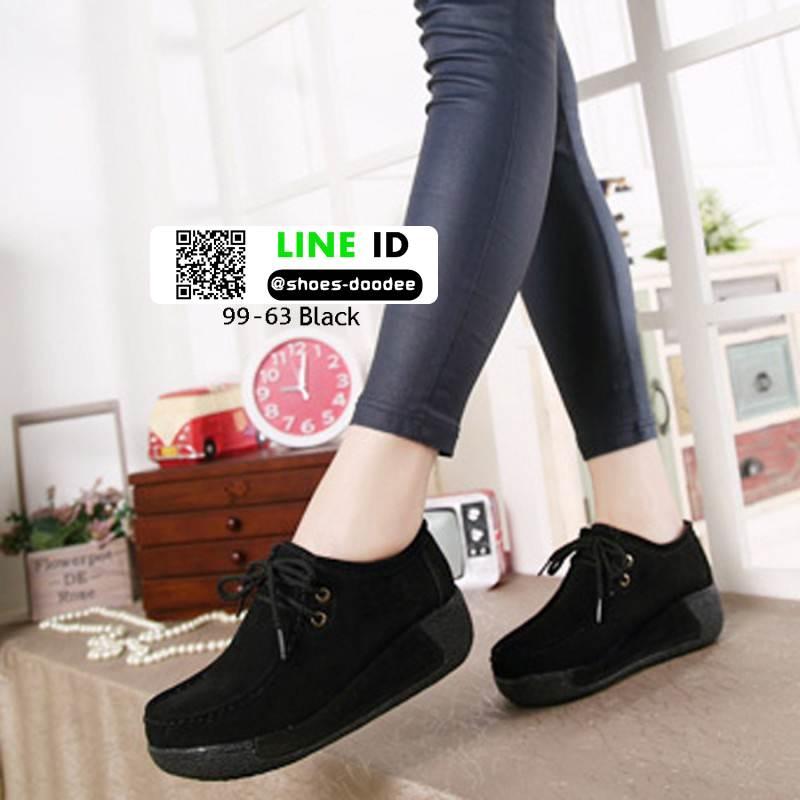 รองเท้าผ้าใบสไตล์เกาหลี 99-63-ดำ [สีดำ]