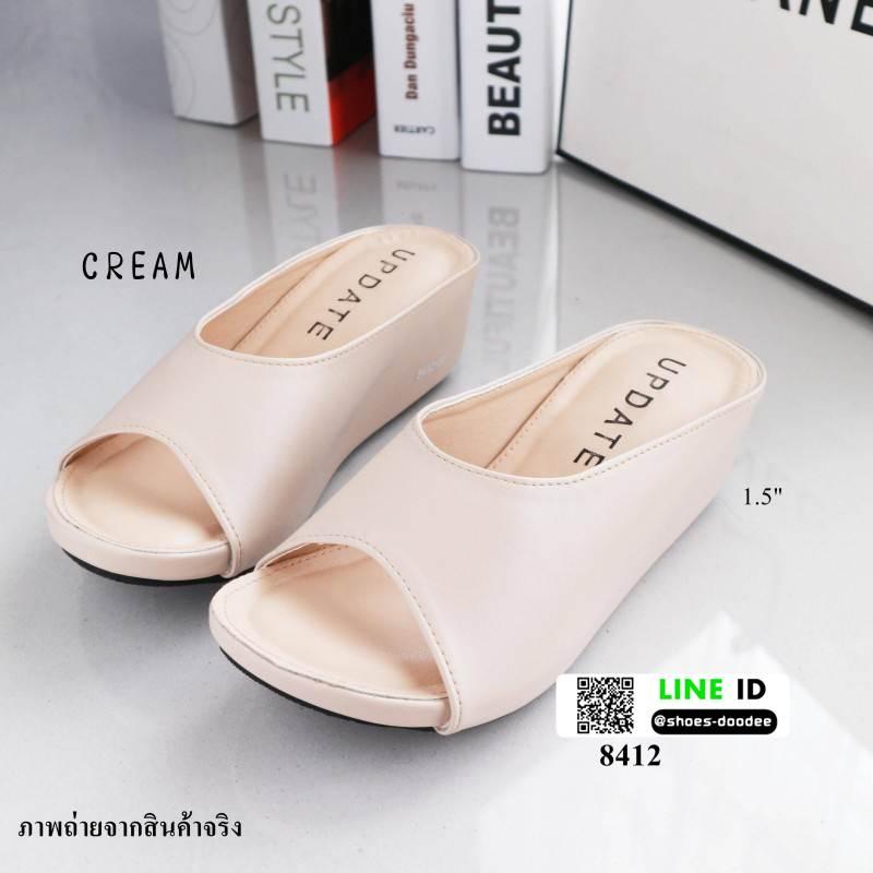 รองเท้าส้นเตารีดทรงสวยมากค่ะ 8412-CREAM [สีครีม]