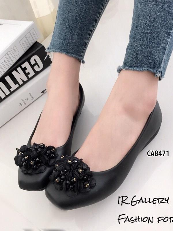 รองเท้าคัทชู เสริมส้น หัวตัด แต่อะไลห่ดอกไม้ประดับคริสตัล (สีดำ )