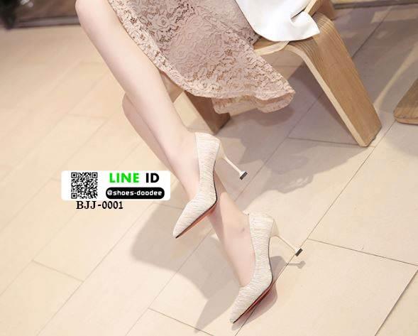 รองเท้าคัชชูส้นสูงหัวแหลมนำเข้า วัสดุผ้าซาติน BJJ-0001-CRE [สีครีม]
