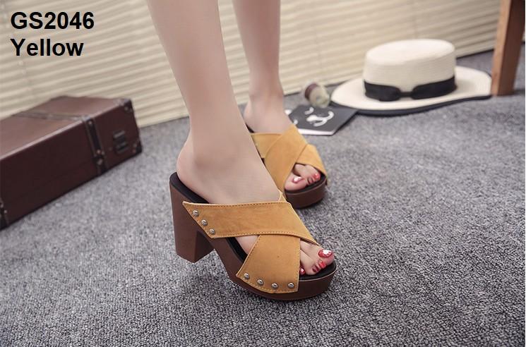 รองเท้าส้นตันเปิดส้นสีเหลือง สายคาดไขว้ (สีเหลือง )