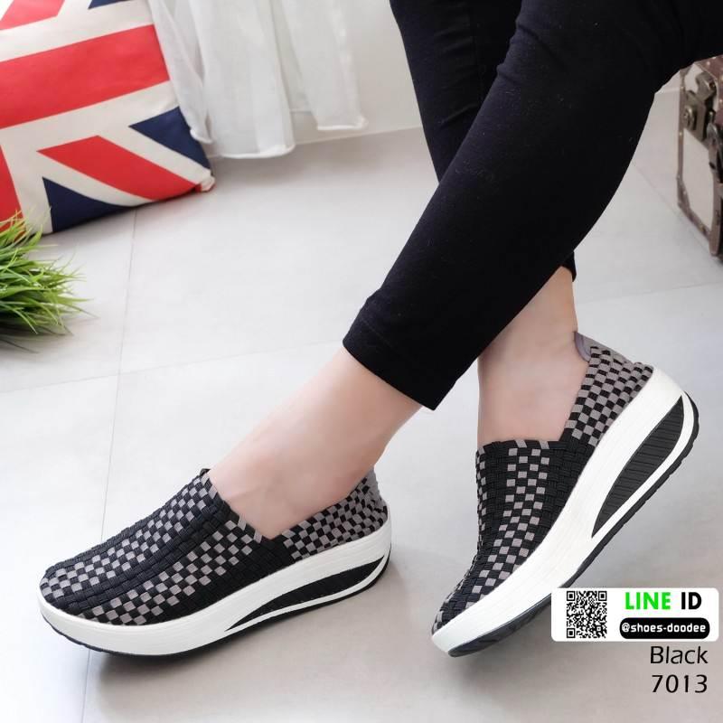 รองเท้าผ้าใบยางยืดเสริมส้น มีไซส์ 41 7013-ดำ [สีดำ]