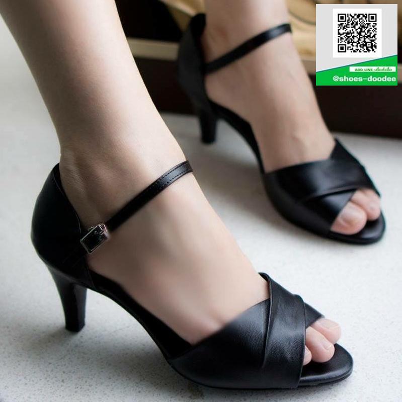 รองเท้าส้นสูงรัดส้นสีดำ Peep Toe High Heel (สีดำ )