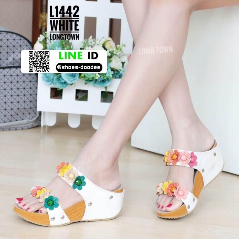 รองเท้าเพื่อสุขภาพ สายคาดมีดอกไม้ L1442-WHT [สีขาว]