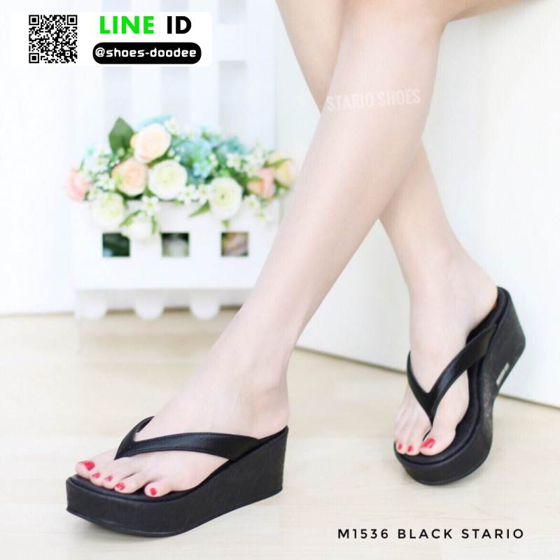 รองเท้าส้นเตารีดเนื้อโฟมใส่สบาย M1536-BLK [สีดำ]
