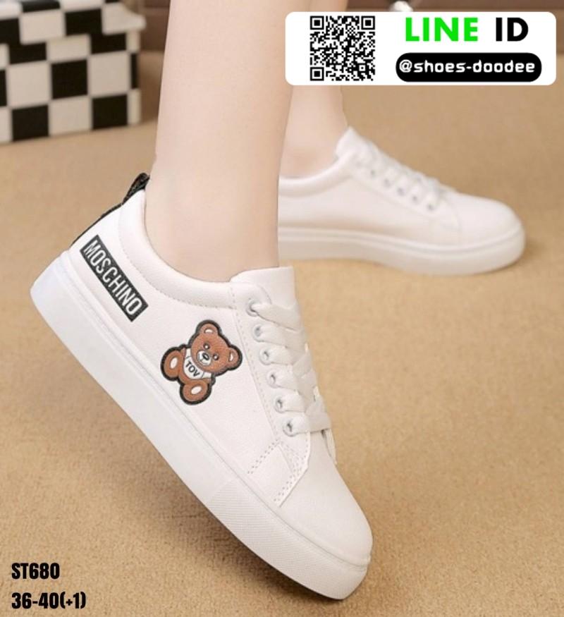 รองเท้าผ้าใบ นำเข้า100% ST680-BLK [สีดำ]