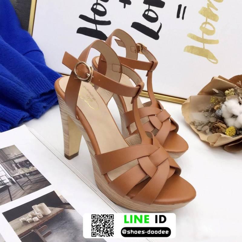 รองเท้าส้นสูง สไตล์แบรนด์เนม 3006-35-BROWN [สีน้ำตาล]