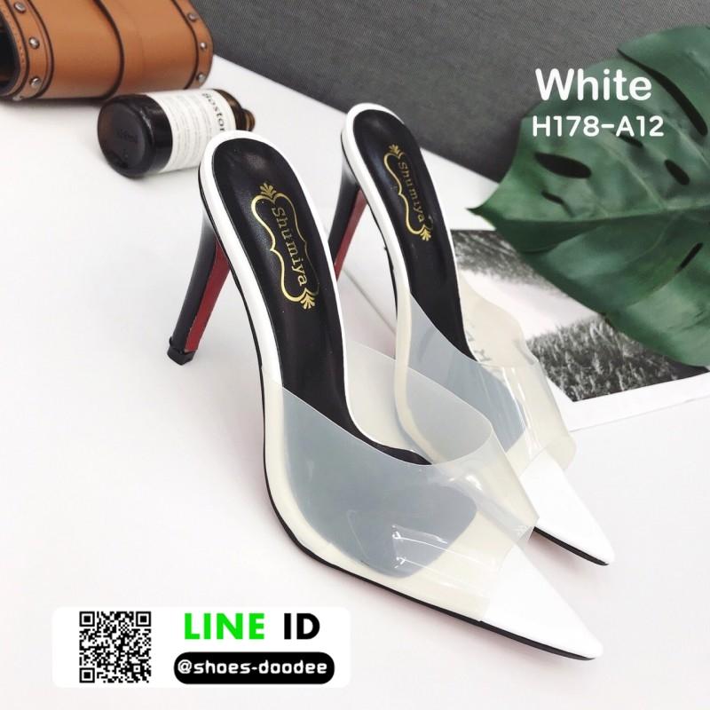 รองเท้าส้นสูงหัวแหลมแหลม ใสเปิดส้น H178-A12-WHI [สีขาว]