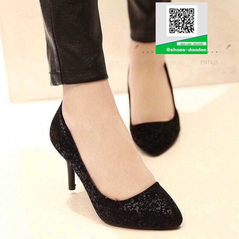 รองเท้าคัชชูส้นสูงสีดำ ทรง casual ดีไซน์หรูหรา (สีดำ )
