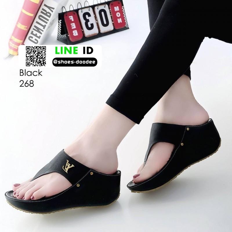รองเท้าลำลองส้นเตารีดแบบคีบ 268-ดำ [สีดำ]