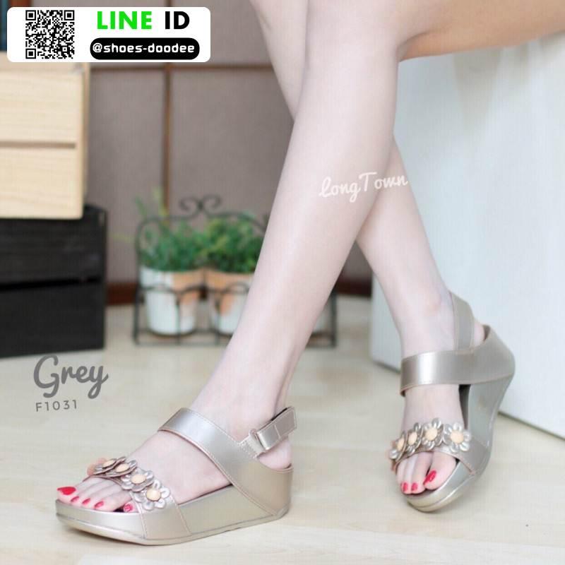 รองเท้าเพื่อสุขภาพ แบบรัดส้น แต่งดอกไม้ F1031-GRY [สีเทา]