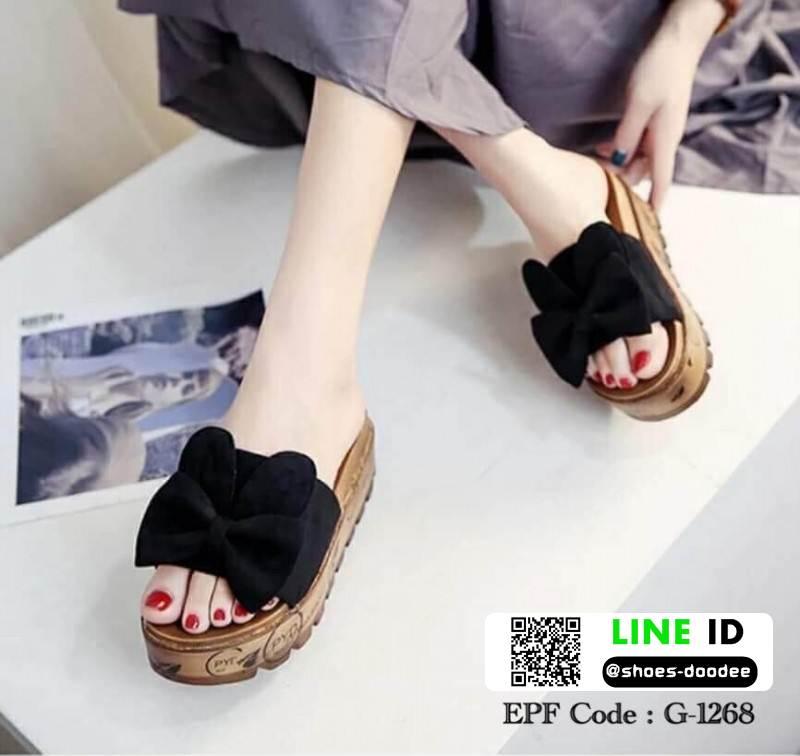 รองเท้าส้นเตารีด พื้นเสมอ G-1268-BLK [สีดำ]