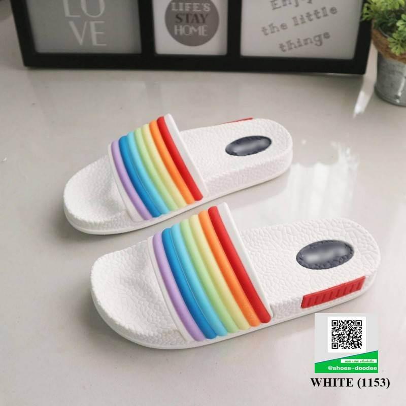 รองเท้าแตะยางน่ารัก สไตล์ Adidas SB1153-WHITE [สีขาว]