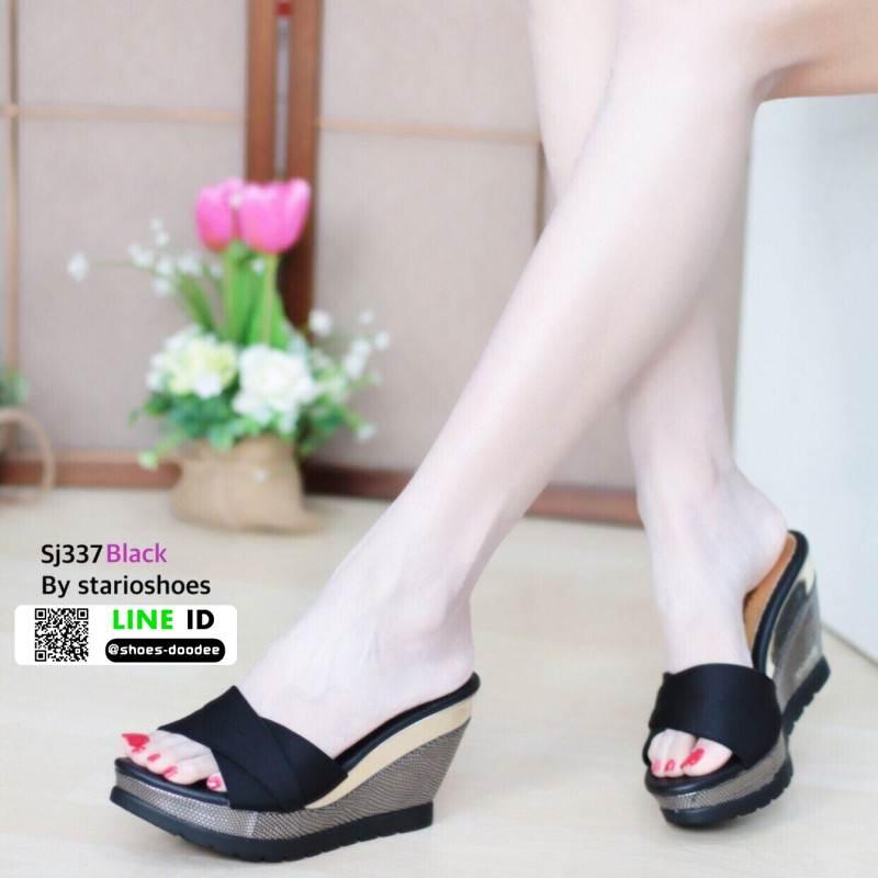 รองเท้าส้นเตารีดแบบสวม SJ337-BLK [สีดำ]