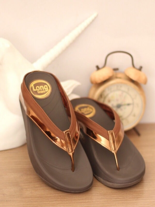 รองเท้าแตะผู้หญิง เปิดส้น เพื่อสุขภาพ (สีน้ำตาล )