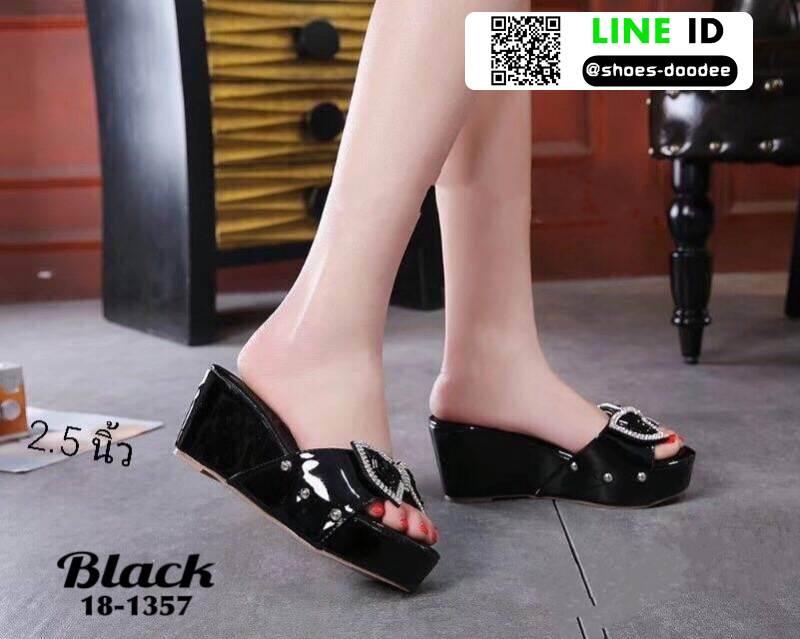 รองเท้าลำลองส้นเตารีด 18-1357-BLK [สีดำ]