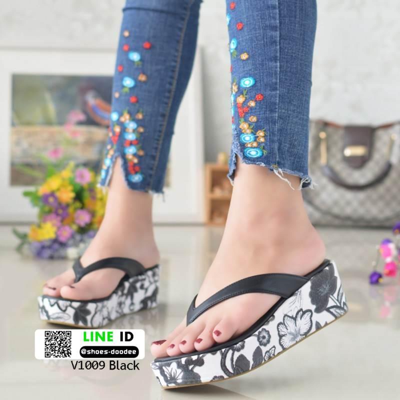 รองเท้าแตะคีบญี่ปุ่น V1009-ดำ [สีดำ]