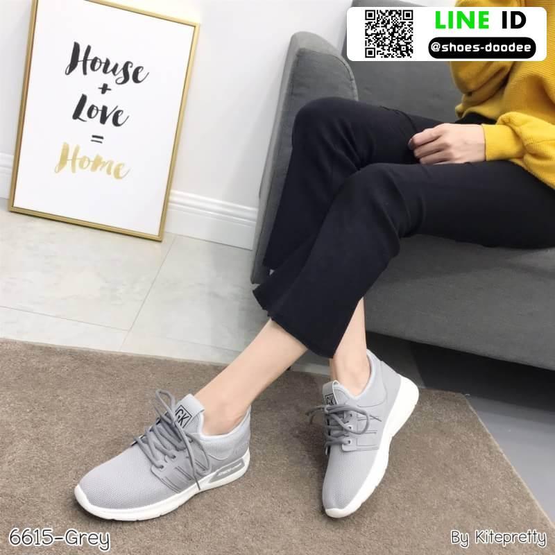 รองเท้าผ้าใบแฟชั่นงานผ้า 6615E2-GRY [สีเทา]
