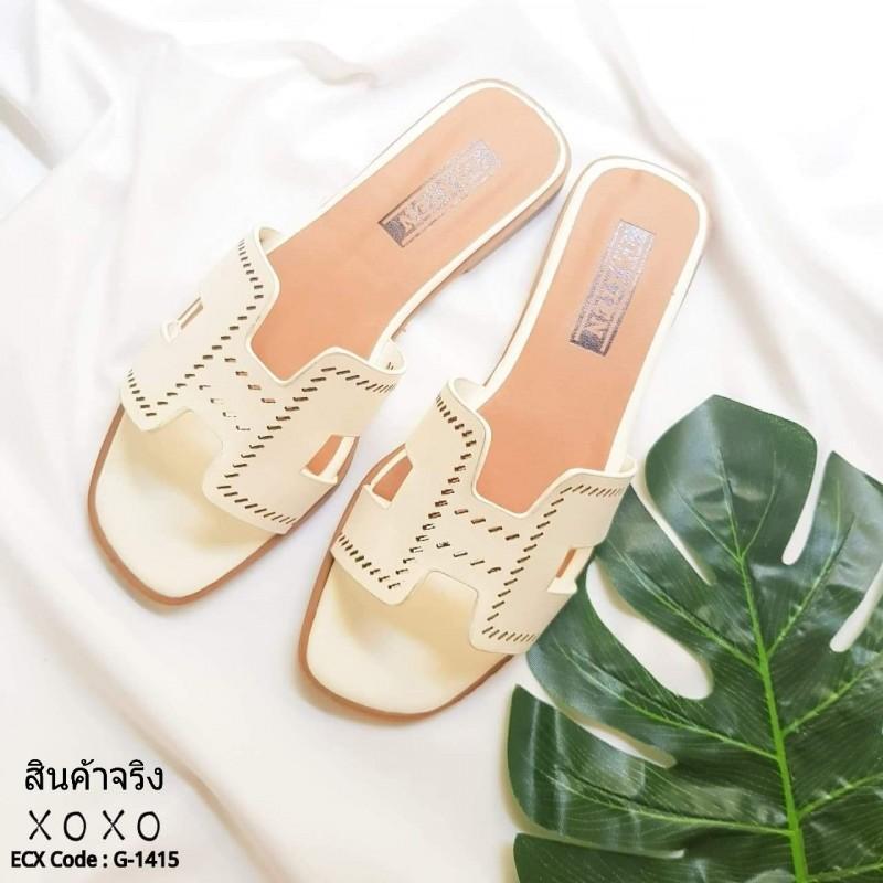 รองเท้าแตะเปิดส้น สไตล์ H ฉลุลาย G-1415-WHI (สีขาว)