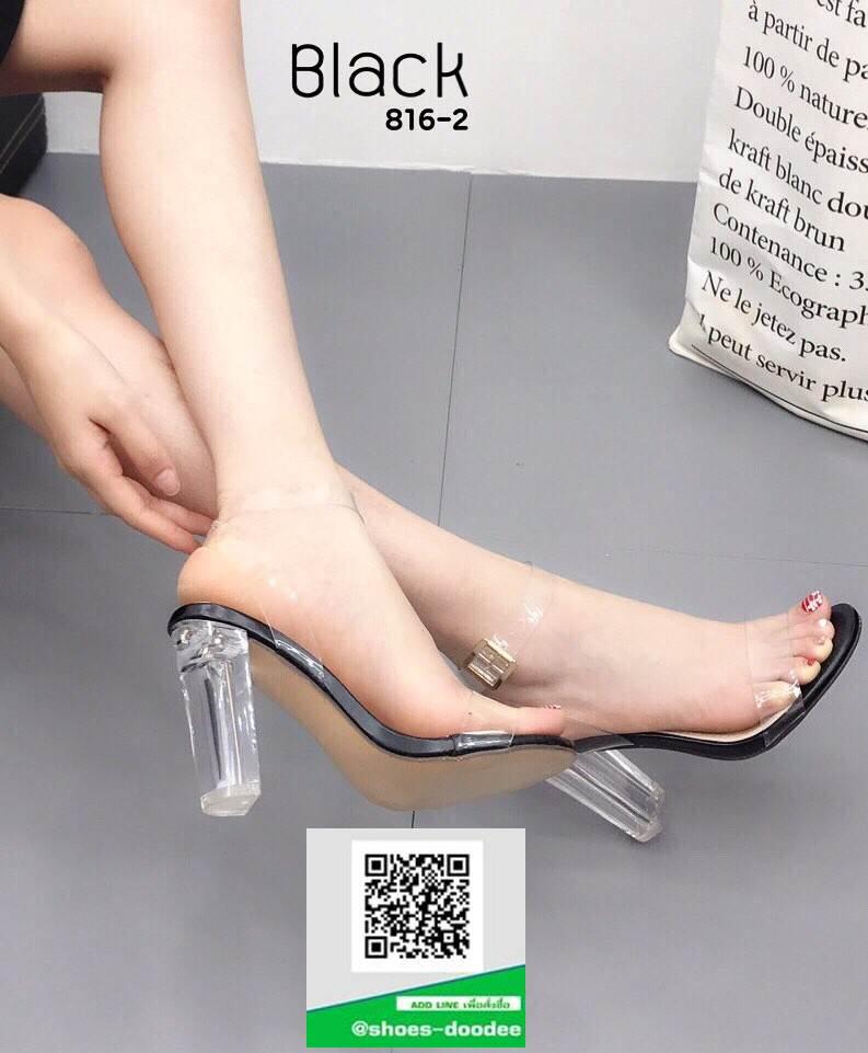 รองเท้าส้นแก้วรัดข้อ 816-2-BLK [สีดำ]