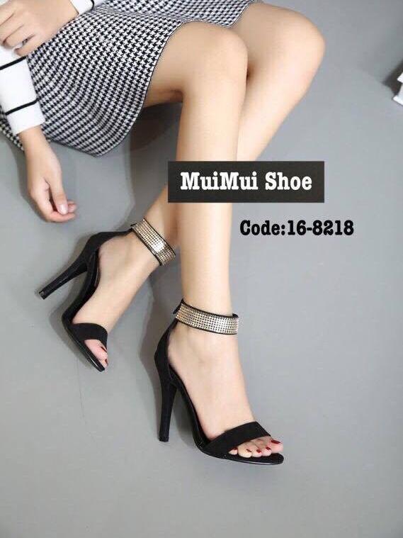 รองเท้าส้นสูงรัดข้อสีดำ เรียบหรูดูแพง สไตล์เกาหลี (สีดำ )
