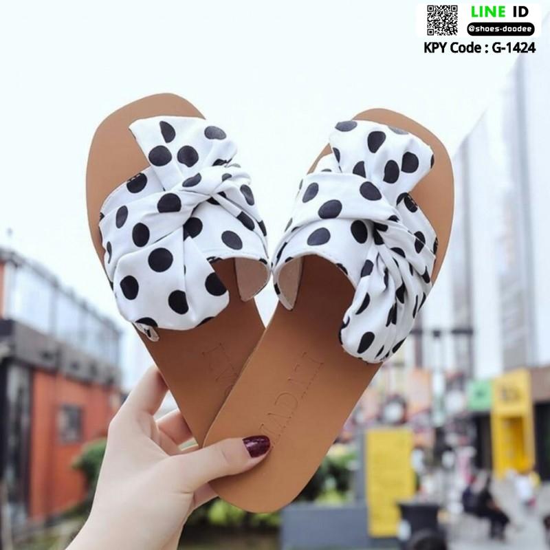 รองเท้าแตะผู้หญิง ลายจุด มัดโบว์ G-1424-WHI(POINT) [สีขาว]