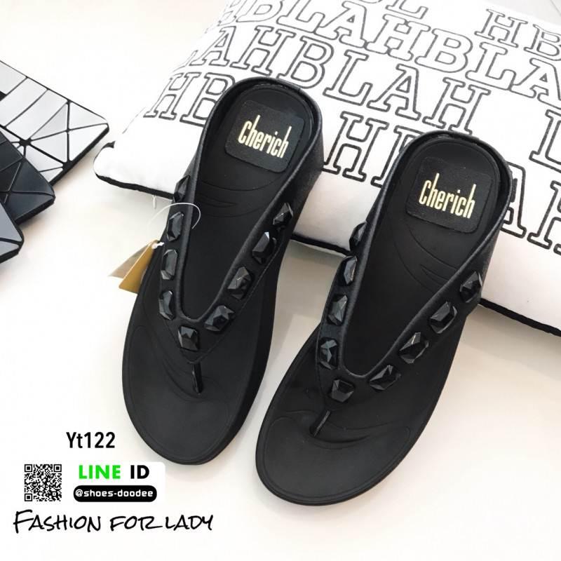 รองเท้าแตะพื้นสุขภาพ สไตล์ ฟิทฟล๊อป YT122-ดำ [สีดำ]