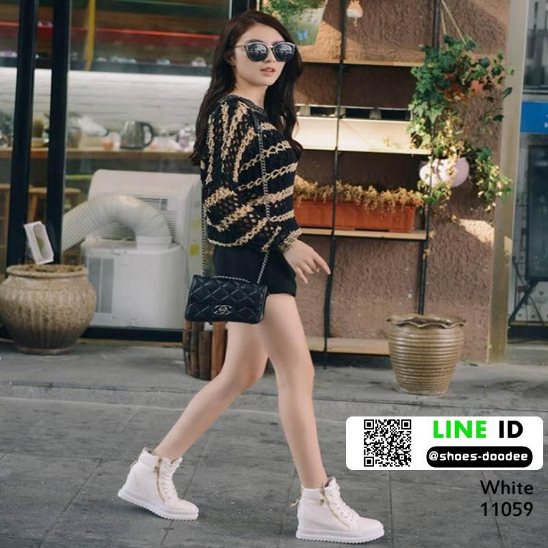 รองเท้าผ้าใบเกาหลี ซิปข้าง ใช้งานได้จริงทั้ง 2 ฝั่ง 11059-ขาว [สีขาว]