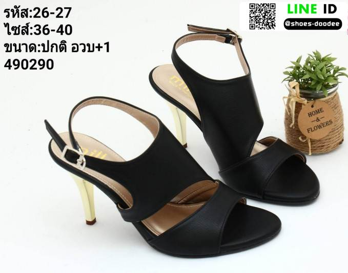 รองเท้าส้นเข็มเปิดหน้ารัดท้ายโชว์ส้น 26-27-BLK [สีดำ]