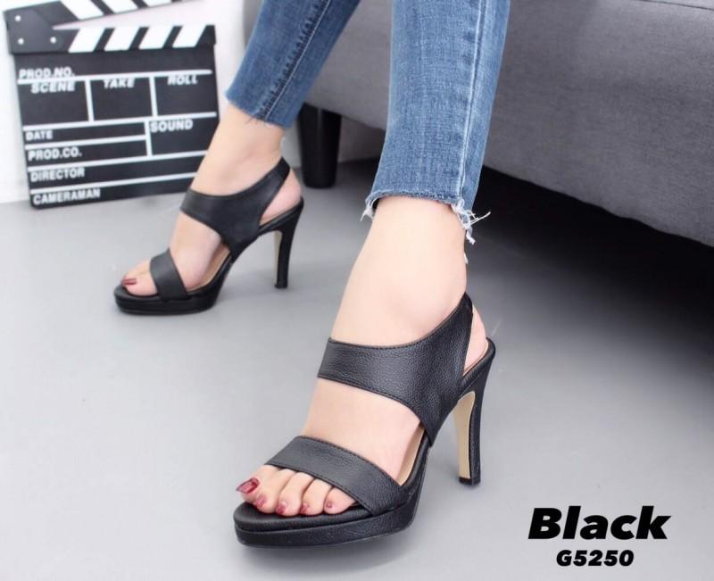 รองเท้าส้นเข็มรัดส้นสีดำ หนังนิ่ม สายคาดสองระดับ (สีดำ )