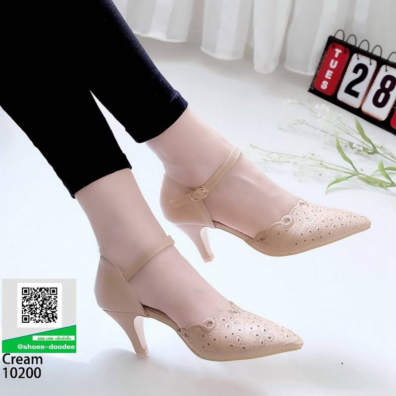 รองเท้าส้นสูง ฉลุลาย รัดข้อ 10200-ครีม [สีครีม]