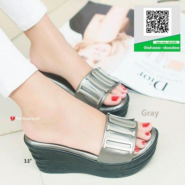 รองเท้าส้นเตารีดสีเทา สไตล์ลำลอง (สีเทา )