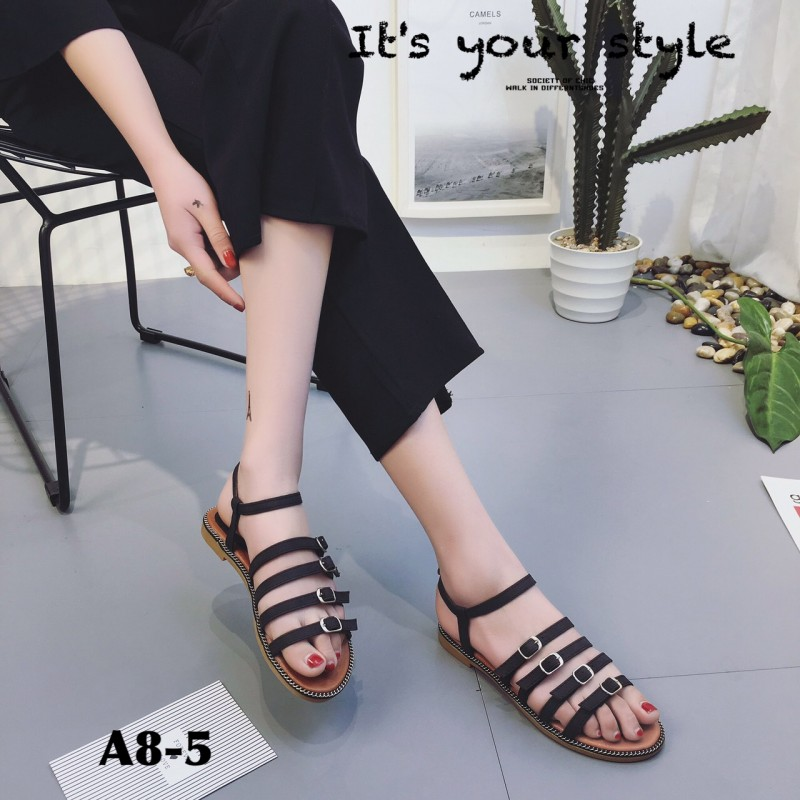 รองเท้าแตะรัดข้อสีดำ หนังนิ่ม ใส่สบายเท้า (สีดำ )