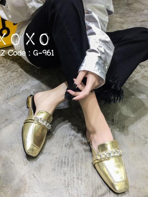รองเท้าส้นแบนสีทอง แบบสวม สีเมทัลลิค (สีทอง )