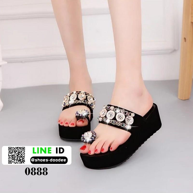 รองเท้านำเข้าคุณภาพ ส้นเตารีดสวยเกร๋ 0888-BLACK [สีดำ]