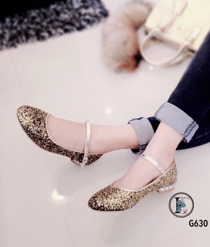 รองเท้าคัทชูส้นเตี้ยสีทอง หนังกลิตเตอร์ฟรุ้งฟริ้ง Style Miu Miu (สีทอง )