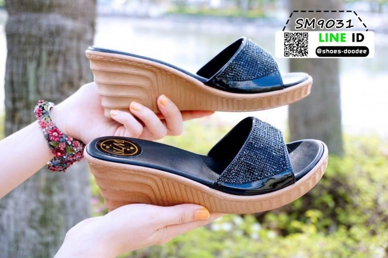 รองเท้าส้นสูง เปิดส้น ส้นตัน SM9031-BLK [สีดำ]