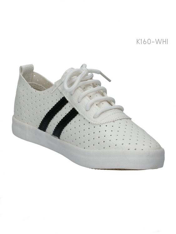 รองเท้าผ้าใบแนวสปอร์ต แต่งแถบข้าง (สีขาว )