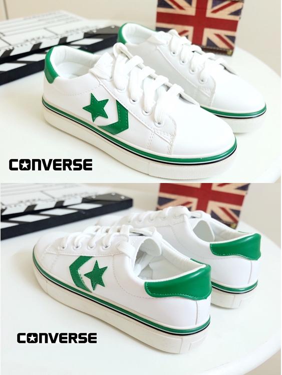 รองเท้าผ้าใบ สไตล์คอนเวอร์สสตาร์ (สีเขียว)