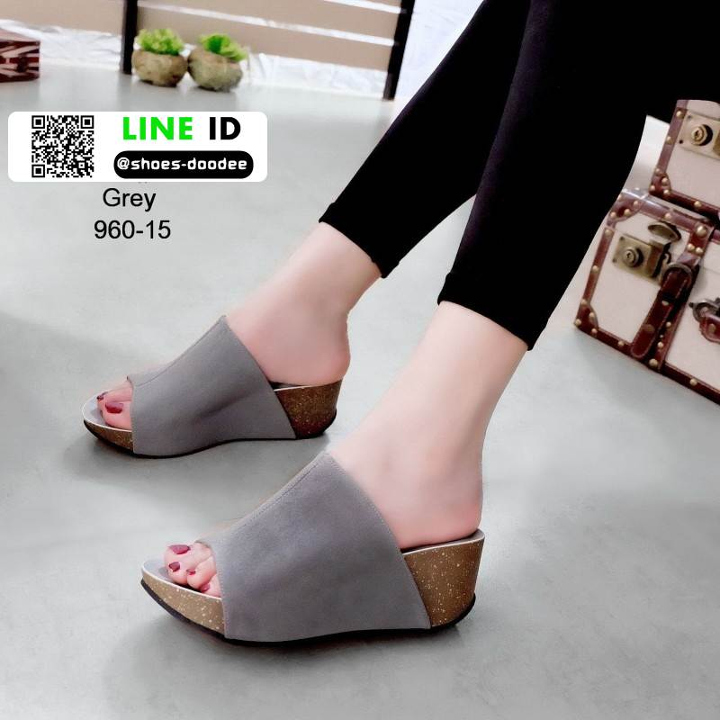 รองเท้าส้นเตารีดหน้าเต็ม 960-15-เทา [สีเทา]