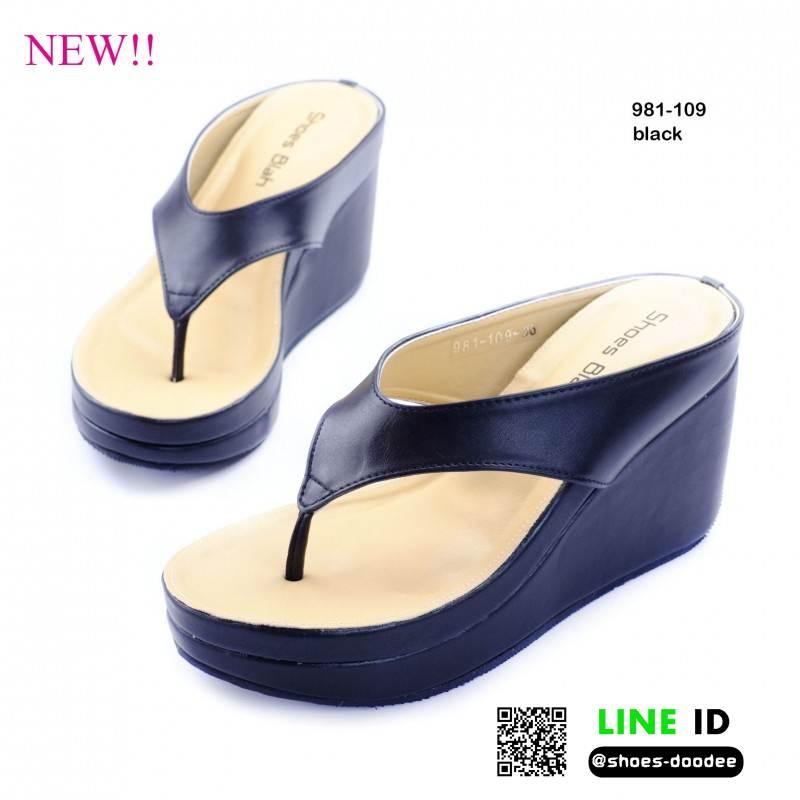 รองเท้าลำลองส้นเตารีด สไตล์หนีบ 981-109B5-BLK [สีดำ]