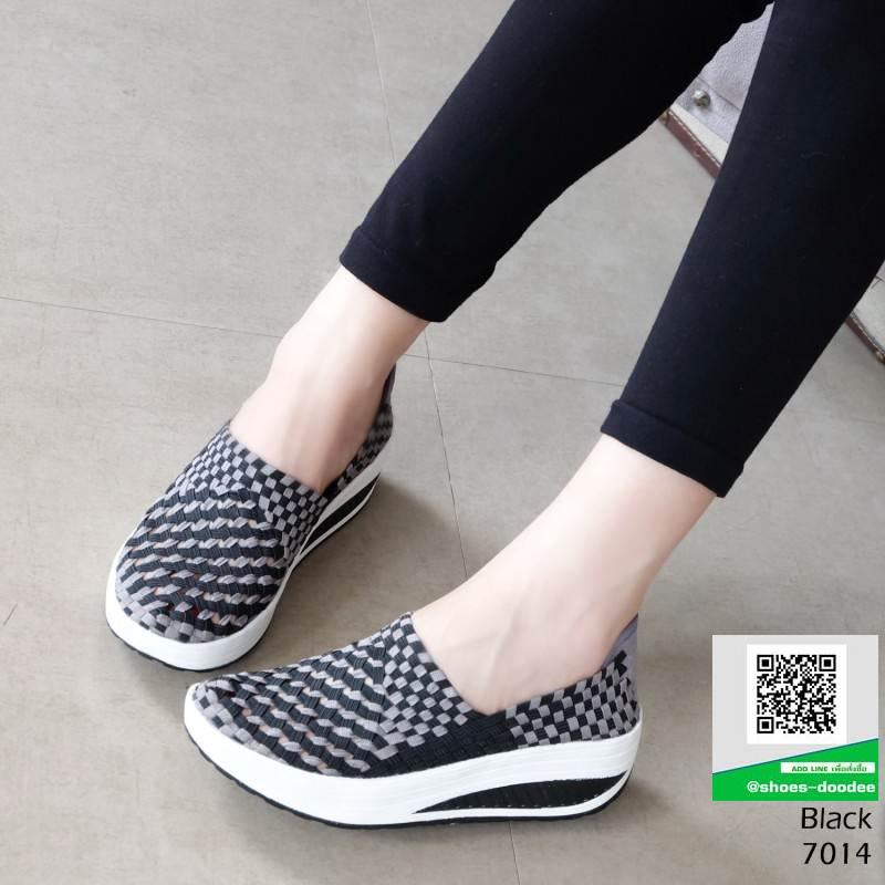 รองเท้าผ้าใบยางยืด 7014-ดำ [สีดำ]