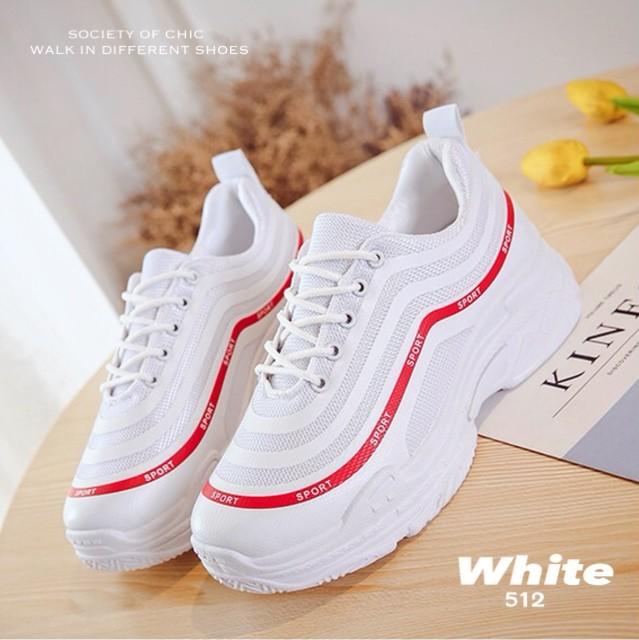 รองเท้าผ้าใบแฟชั่น 512-WHI [สีขาว]