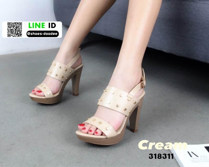 รองเท้าส้นสูงเสริมหน้า ส้น pu ลายไม้ 318311-CRE [สีครีม]