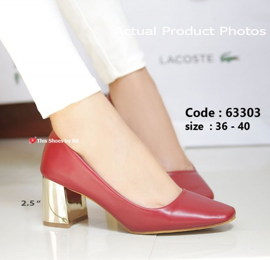 รองเท้าคัทชูส้นตันสีแดง แต่งเมทาลิกสีทอง Chunky Shoes (สีแดง )