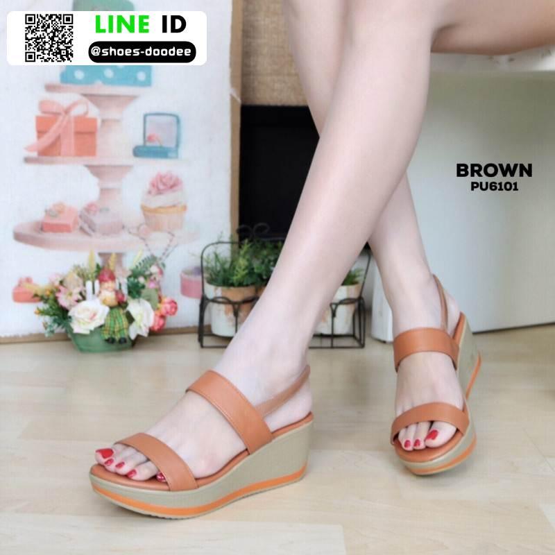 รองเท้าแตะพียู ส้นโฟม รัดส้น PU6101-BRN [สีน้ำตาล]