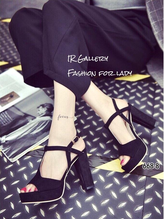รองเท้าส้นสูงรัดส้นสีดำ ผ้าสักหราด ทรงT-Strap (สีดำ )