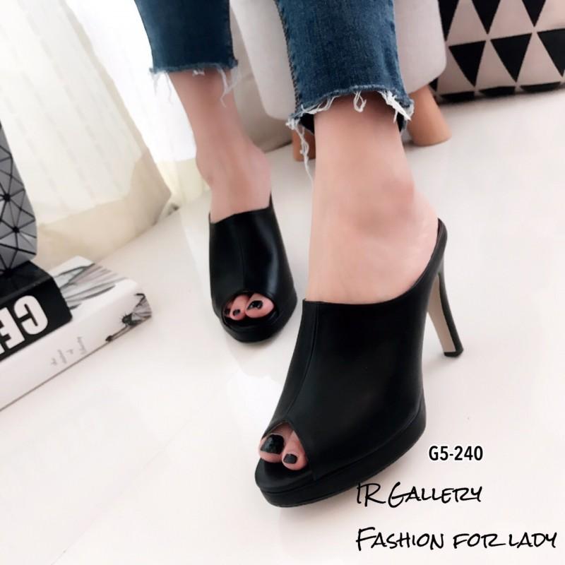 รองเท้าส้นเข็มเปิดส้นสีดำ ทรงสวม สุดคลาสสิค (สีดำ )