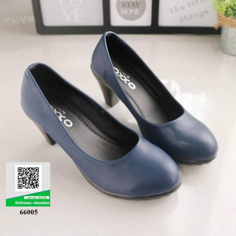 รองเท้าคัชชู ทรงน่ารัก 66005-NAVY [สีกรม]