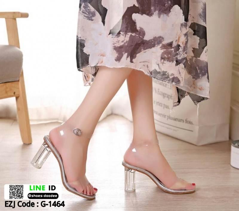 รองเท้าส้นสูงรัดส้น งานใส ส้นแก้ว G-1464-SIL [สีเงิน]